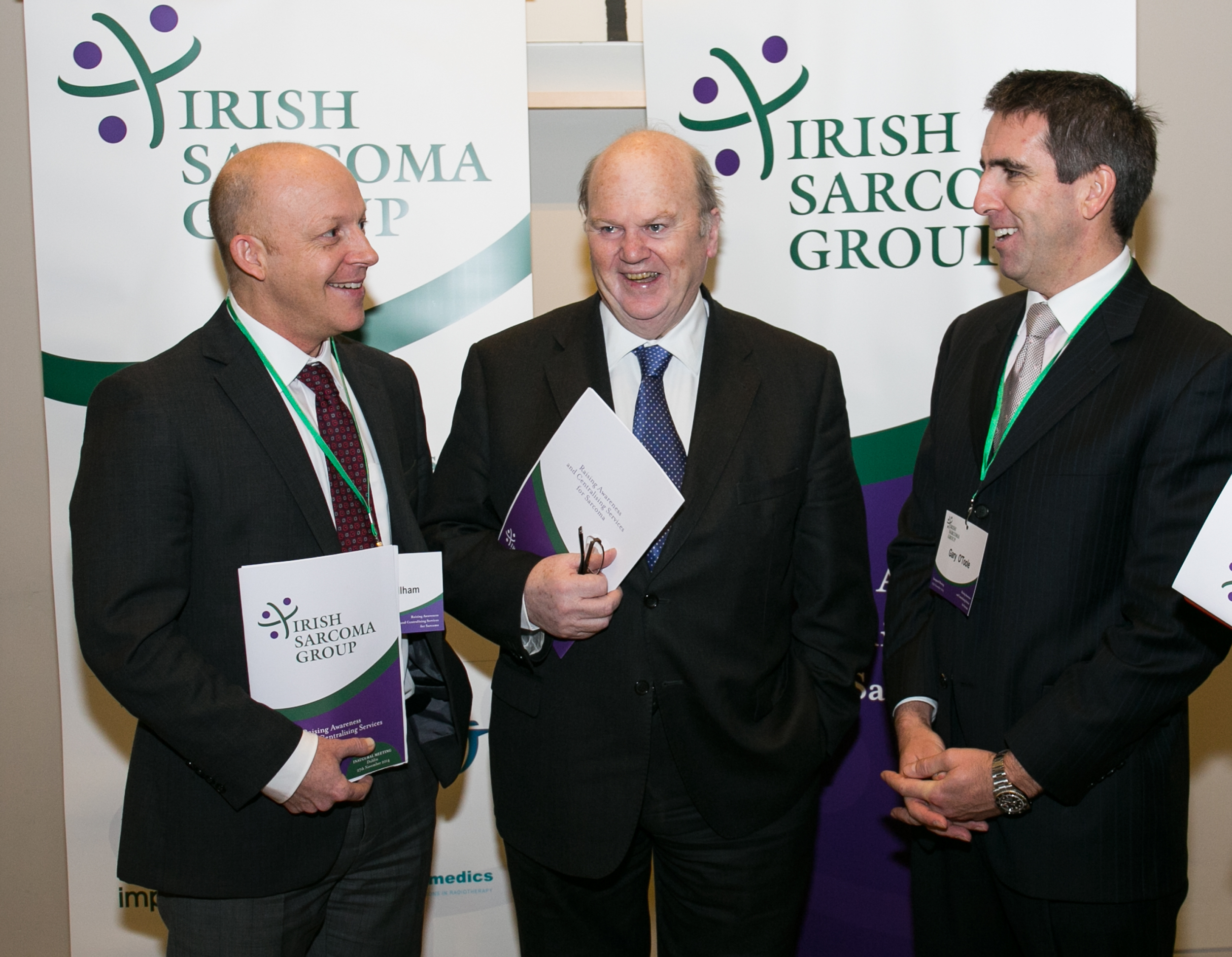 Dr Charles Gillham, Radiation Oncologist, St Luke's Radiation Oncology Network. , Michael Noonan, TD, Mr Gary O'Toole, Orthopaedic Surgeon, St Vincent's, Cappagh and the Beacon Hospital.